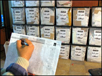 An Iraqi election official registers ballot boxes in Baghdad