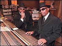 Jimmy Jam and Terry Lewis in their Flyte Time recording studio