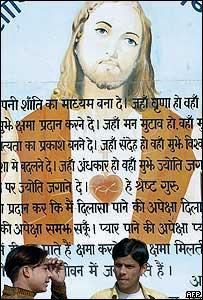 Imagen de Jesús durante celebraciones en India