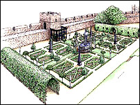 Artist's impression of the 16th Century garden