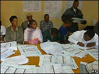 Officials counting votes in the capital