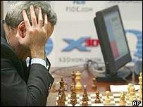 Garry Kasparov plays a chess computer
