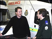 David Cameron meets an ambulance crew on Wednesday
