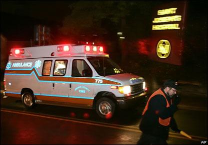Ambulance arrives at hospital