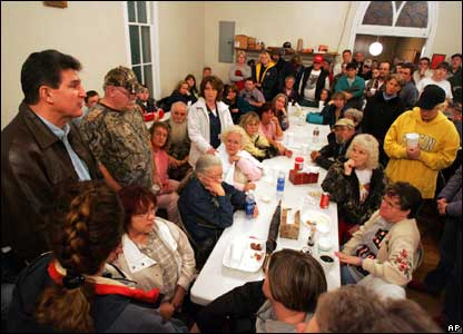 West Virginia Governor Joe Manchin speaks to families