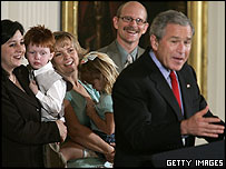 President Bush meets children adopted as frozen embryos