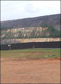 The mine as viewed from the end of Prestea high street
