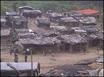 Shanty town on outskirts of Prestea where miners live and work