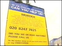 Murder witness appeal sign