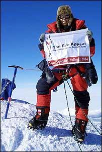 Annabelle Bond at summit of Vinson Massif, Antarctica