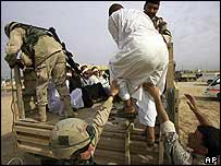 US soldiers with Iraqi detainees