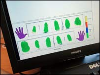 Biometric ID data on computer screen