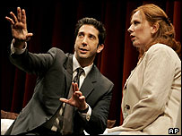 David Schwimmer and actress Catherine Tate re-enact a scene from Some Girl(s)