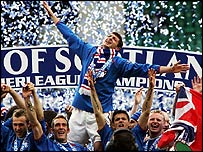 Rangers players celebrate title win