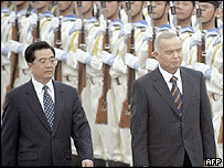 China's President Hu Jintao and Uzbek President Islam Karimov - 25/5/05