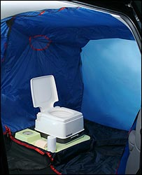 Photo of the Indipod toilet in its inflatable bubble