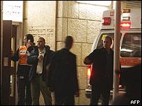 Ambulancia en la que Sharon fue llevado al hospital.