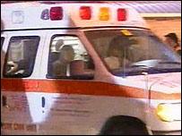 Ambulance carrying Ariel Sharon to hospital