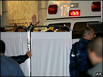 Ambulance carrying Ariel Sharon to hospital