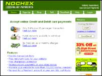 Screen grab of Nochex website