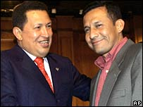 Venezuelan President Hugo Chavez and Peruvian candidate Ollanta Humala