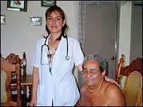 Dr Mely Hernandez visits diabetes patient