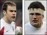 Sale and England fly-half Charlie Hodgson and Leicester number eight and England captain Martin Corry