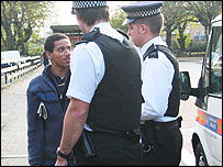 Black man and police