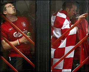 Two Liverpool fans on a coach to the Ataturk Stadium