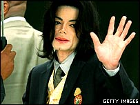 Michael Jackson arriving in court on Wednesday
