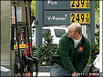 US driver fills up with fuel