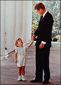 President John F Kennedy and son John Jr