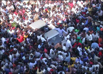 Picture taken after the High court in Kampala released presidential candidate Kizza Besigye.