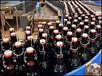 Grolsch bottles on the production line