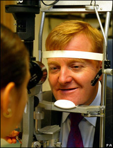 Kennedy receives an eye test at the optometry unit of the Royal Bournemouth Hospital during a party conference