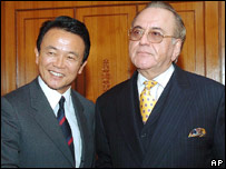 Pakistan's Khursheed Kasuri with Japanese foreign minister Taro Aso