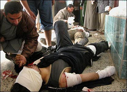 A victim of a bomb attack in Ramadi