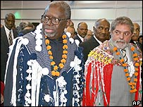 Surinam President Ronald Venetiaan and Brazil President Luiz Inacio Lula da Silva at the Caricom Summit in Paramaribo, Surinam in February