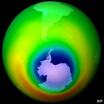 The southern hemisphere ozone hole.  Image: AP/Nasa