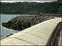 The sea defence wall at Scarborough