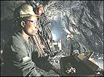 A worker in a Ghana gold mine