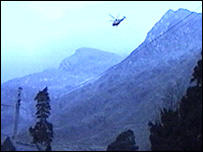 A helicopter over Snowdonia
