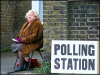 Woman at polling booth