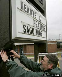 A memorial sign is erected in the mining town of Sago