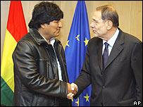 Evo Morales y Javier Solana.