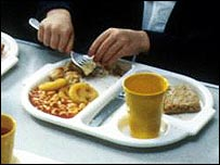 Pupil eating school lunch
