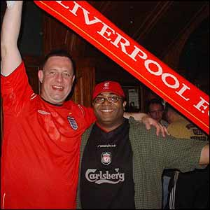 Liverpool fans in New York City