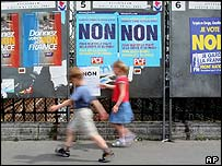 French children in front of posters urging voters to say 'non'