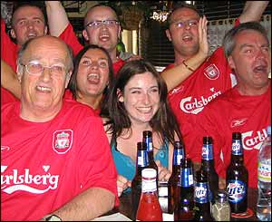 Liverpool fans in Los Angeles