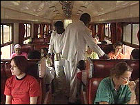 The dining car aboard the 'Lunatic Express'